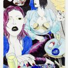 David Rappeneau, Untitled, 2014, acrylic paint, ballpoint pen, pencil, charcoal pencil and florescent marker on paper, 17 3/4 x 11 in. (45.09 × 27.94 cm.)