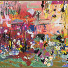 Petra Cortright, 15_independentBUICKS.$$$, 2015, digital painting on raw Belgian linen, 47 x 92 1/2 in. (119.38 x 234.95 cm)