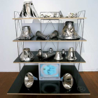 Hany Armanious, Forging the Energy Body (Swegypt), 2004, pewter, chromed aluminium, plaster, adhesive stickers, brass, LCD monitor, spray enamel and silver marker on form-ply and steel, 61 x 46 x 35 in. (154 × 117 × 90 cm.)