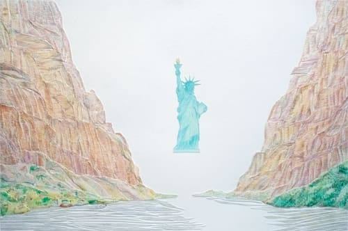 Statue of Liberty over The Grand Canyon