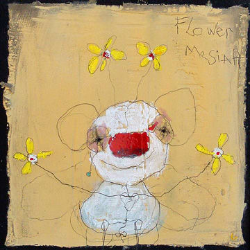 Flower Mesiah. 2009 mixed media on paper.  5x5in  (sold)