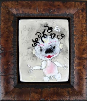 Pretty Girl with Black Curls, by Richard Campiglio, mixed media 6 x7 in framed 2013