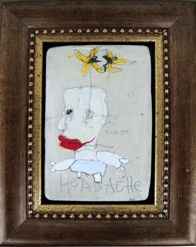 Headache, by Richard Campiglio, mixed media 5 x7 in framed 2013