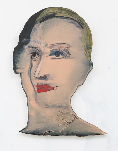 Becky Kolsrud, Double Portrait, 2014, oil on wood, 18 x 12 in. (45.72 x 30.48 cm)