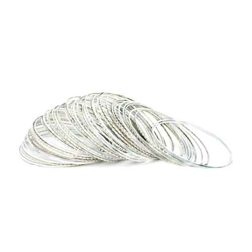 Shimmer Silver Bangles – Set