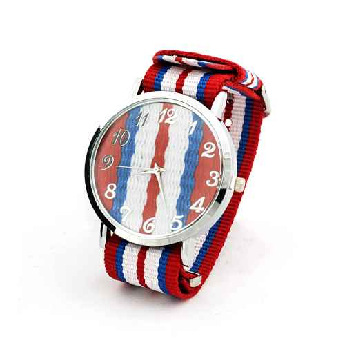 French Blue and Red Strap Watch