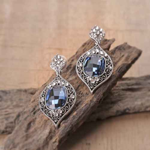 Blue Crystal Indian Earrings made with elements from Swarovski