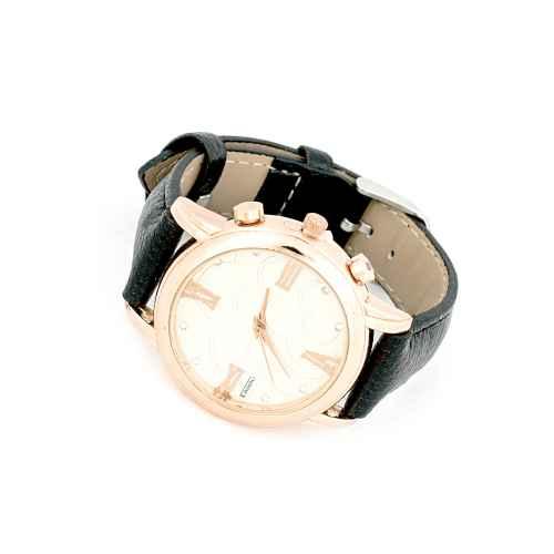 Black Strap Gold Watch