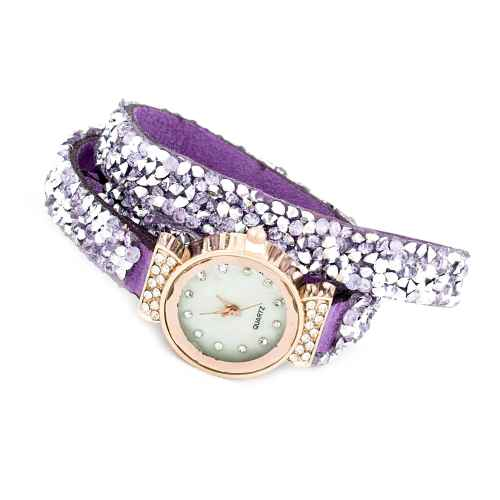Purple and Silver Sequence Wrap Watch