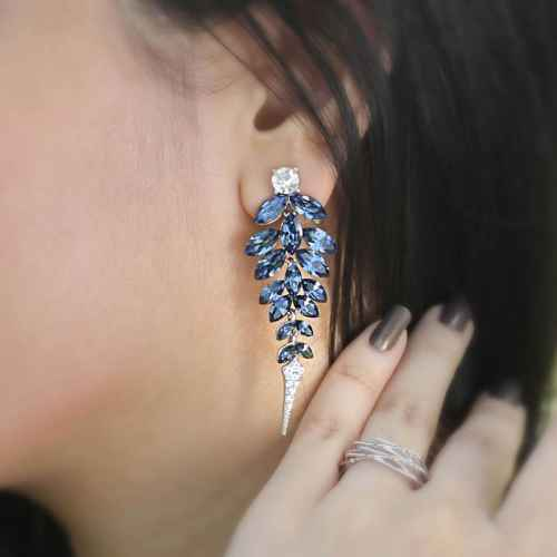 Deep Blue Crystal Rhodium Finish Earrings made with elements from Swarovski