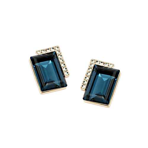 Dark Blue Crystal Studded Earrings made with Elements from Swarovski.