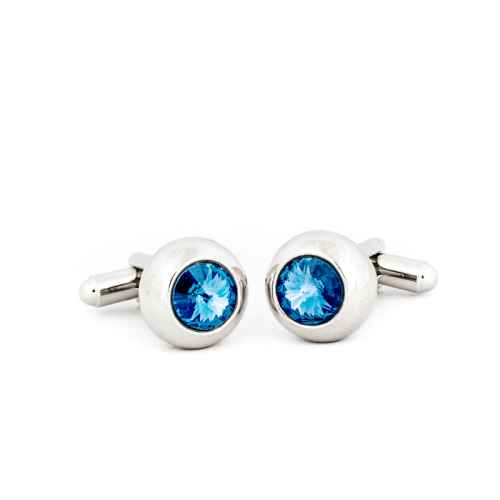 Silver Blue Round Crystal Cufflinks made with elements from Swarovski