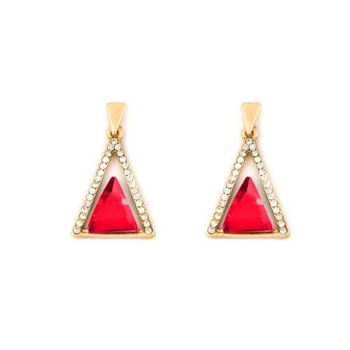 Bright Red Triangle Earrings