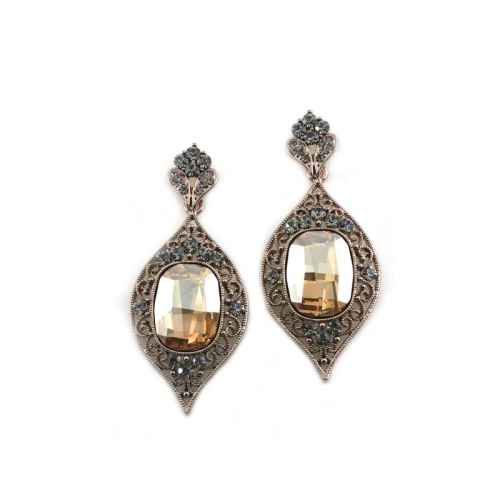 Clear Crystal Indian Earrings made with elements from Swarovski