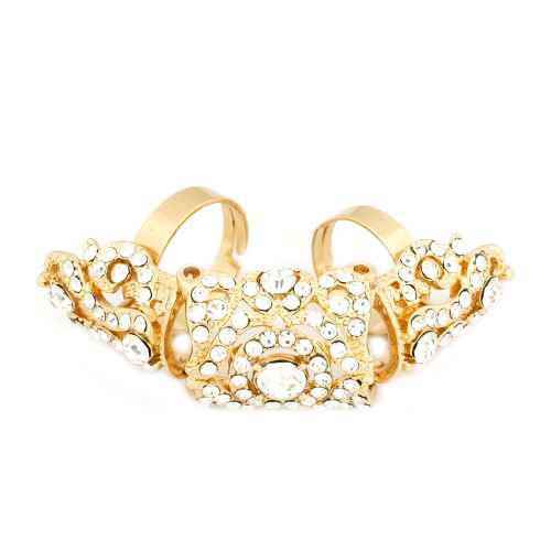 Gold diamond studded finger ring