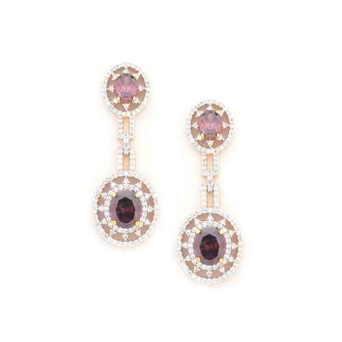 Gold Plated American Diamond Dangler Earrings