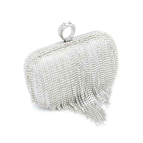 Shimmery Silver Beads Clutch
