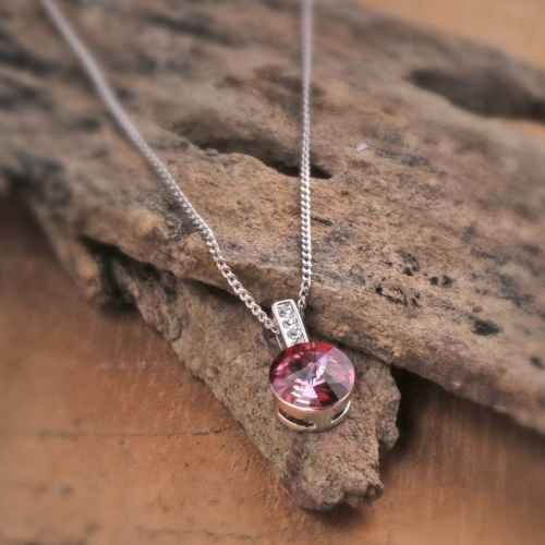 Dark Pink Flashlight Swarovski Crystal Pendant