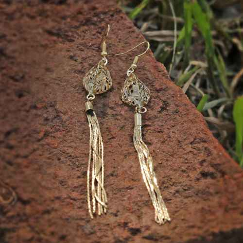 Light Brown Stone Alloy Earrings