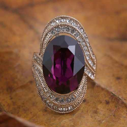 Royal Purple Stone Class Ring Made with Elements from Swarovski.