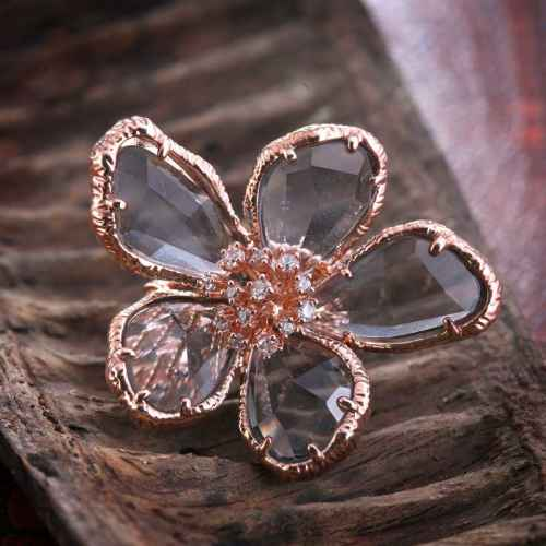Grey Flower Ring Made with Elements from Swarovski.