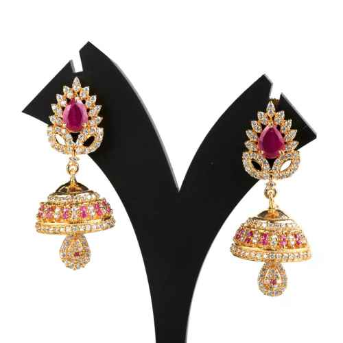 Gold plated American Diamond Jhumki Earrings