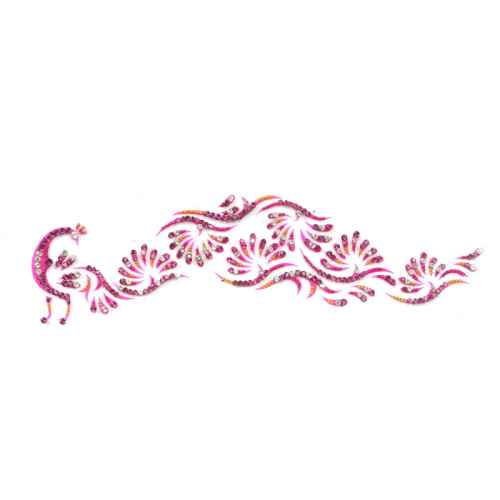 Attractive Dark Pink Peacock shaped Arm tattoo