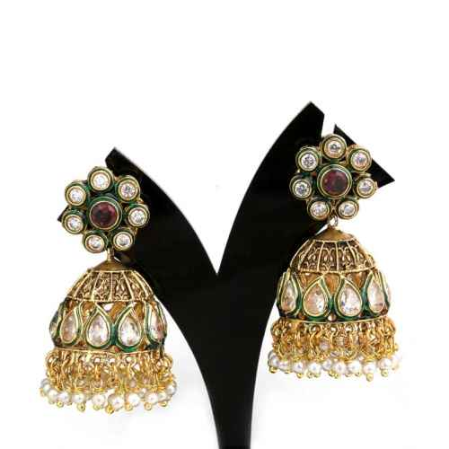 Antique Gold Plated Jhumki Earrings