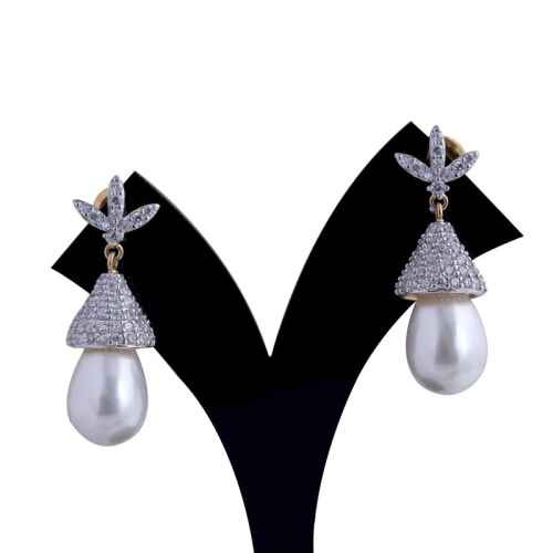 Gold Plated American Diamond and Faux Pearl Earrings
