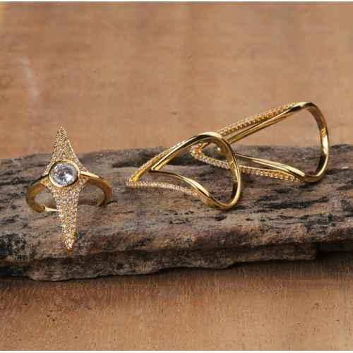 Gold Plated Faux Diamond Ring