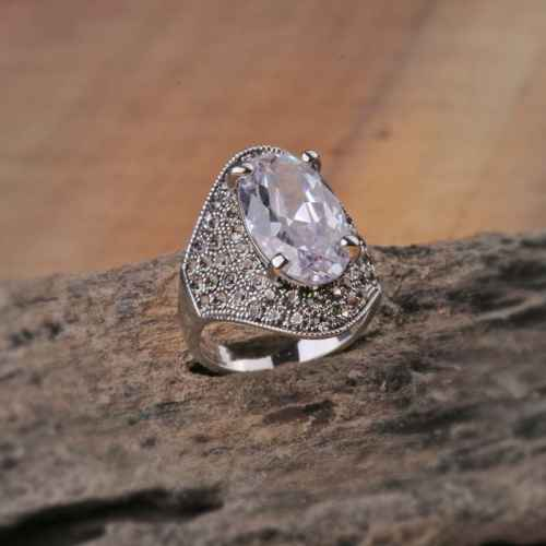 Big Bling Silver Crystal Ring