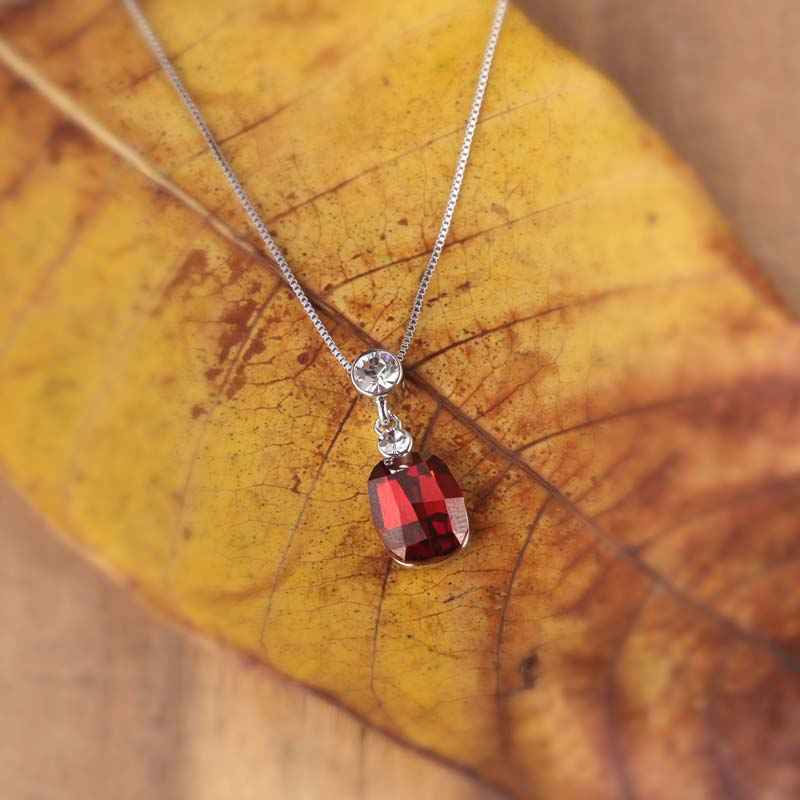 Red Ruby Pendant Necklace Made with Elements of Swarovski