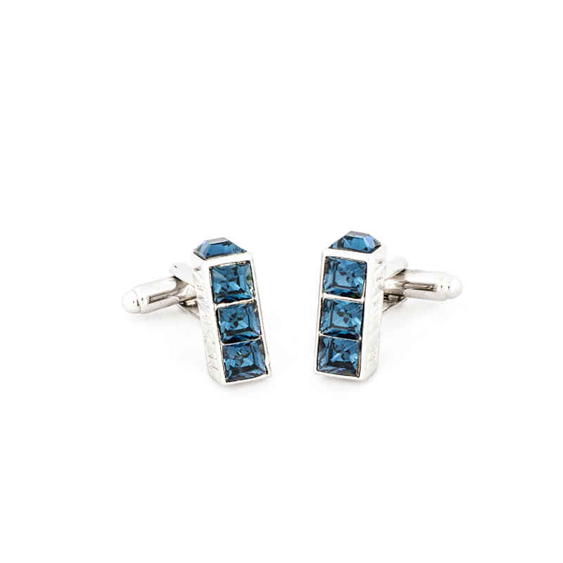 3 stone rectangle Blue Crystal Cufflinks made with elements from Swarovski