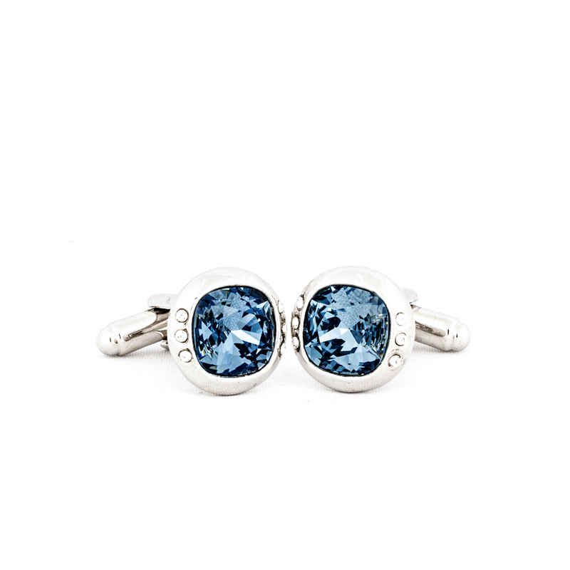 Silver Blue Crystal Cufflinks made with elements from Swarovski