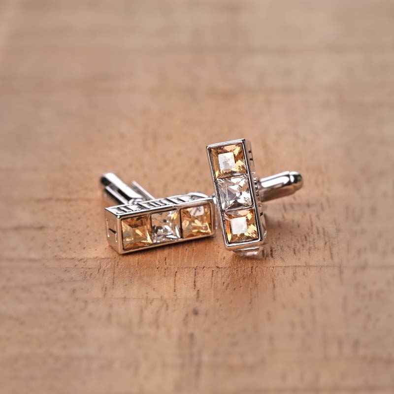 3 stone rectangle Crystal Cufflinks made with elements from Swarovski