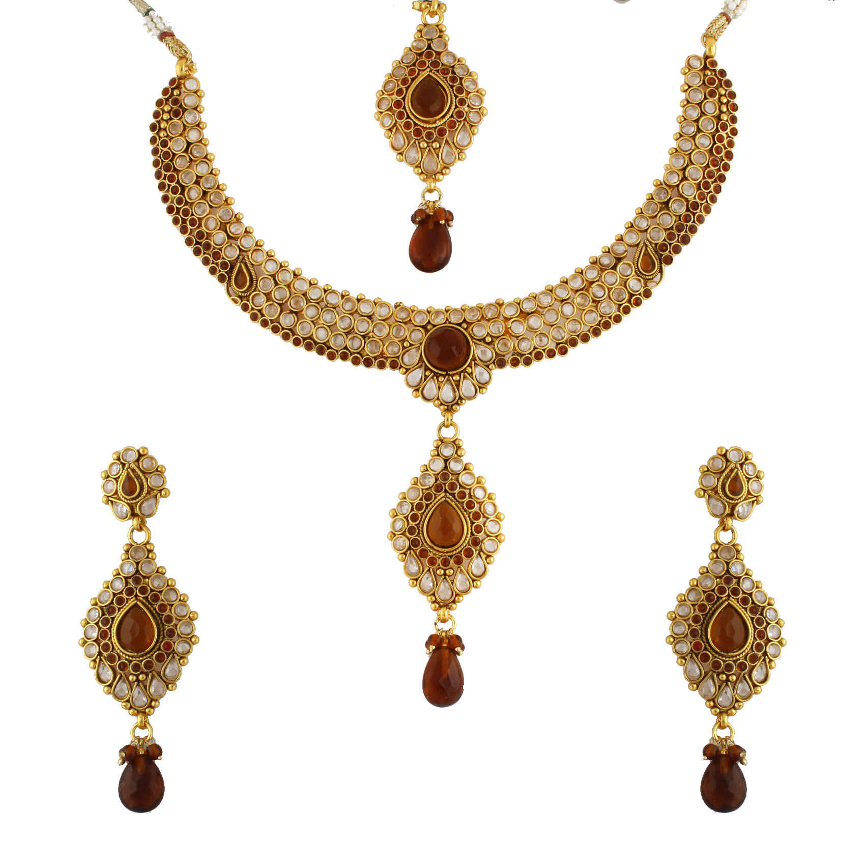 Alluring Red and White Gold Plated Antique Kundan Jewellery set