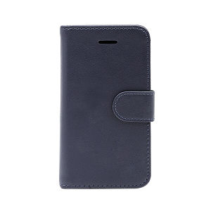 For iPhone 5/5S/SE wallet case real leather case blue