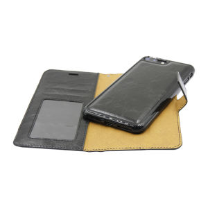 For iPhone 7 Plus PU Leather Magnetic detachable Case Black