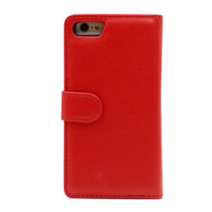 For iPhone 6 Plain PU Leather Magnetic detachable Zipper Wallet Case Red
