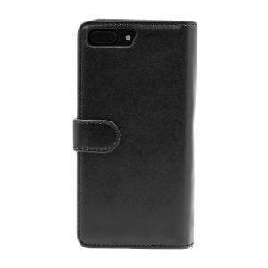 For iPhone 7 Plus Plain PU Leather Magnetic detachable Zipper Wallet Case Black