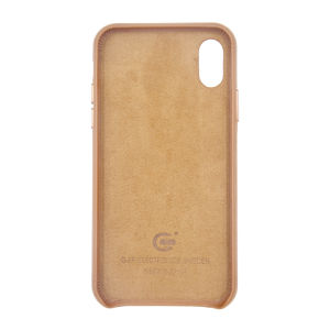 For iPhone X Genuine Leather Case Brown