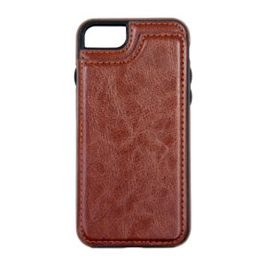 For iPhone 7/8 PU Leather Kickstand Card Pocket Case Brown