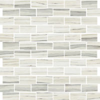 "Zebrino 1"" x 2"" Floor and Wall Mosaic in Calacatta"