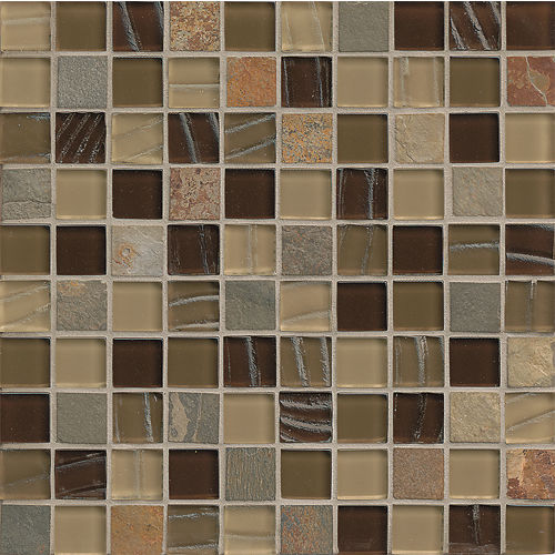 "Elume 1-1/4"" x 1-1/4"" Wall Mosaic in Java Bean"