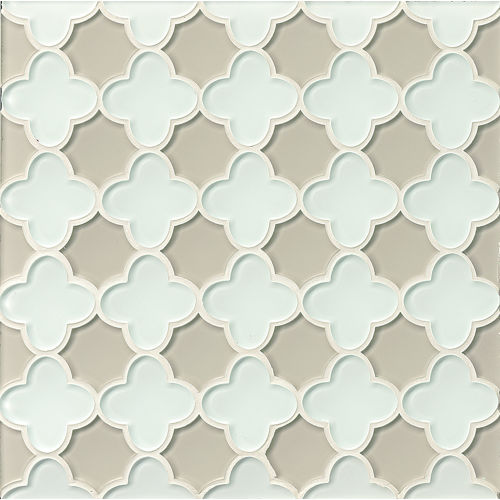 Mallorca Glass Wall Mosaic in White Linen / Mist