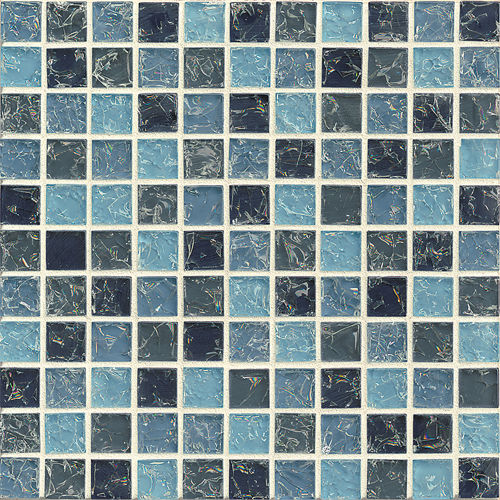 "Ice Crackle Glass Mosaic 1"" x 1"" Wall Mosaic in Blue"