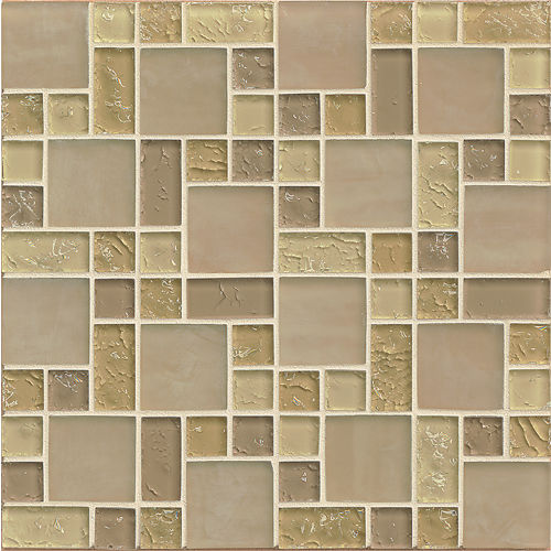 Ice Crackle Glass Mosaic Wall Mosaic in Cream