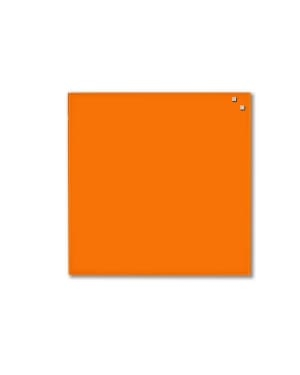 NAGA Magnetic Glass Noticeboard ORANGE 45 x 45cm