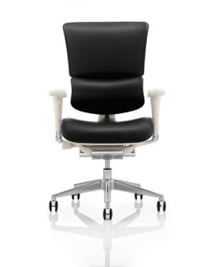 Ergo Dynamic Posture Chair. Black Leather with Grey Frame