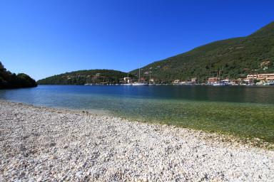 Small pebble beach just below the villa